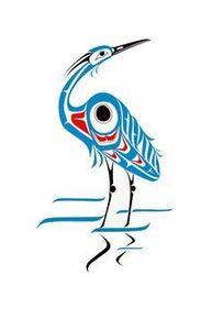 Blue Heron-Print-Nortwest Coast na - 100 Haida Tattoos You Have to See