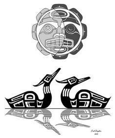 Haida loons in the moonlight - 100 Haida Tattoos You Have to See