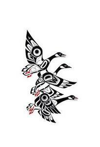 Geese-Prints - Glen Rabena, Northw - 100 Haida Tattoos You Have to See