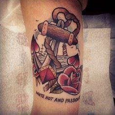 Old school, traditional Anchor, Ro - 100 Anchor Tattoos