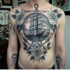 stomach and chest nautical tattoo - 100 Anchor Tattoos