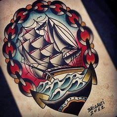 Ship with chain boarder - 100 Anchor Tattoos