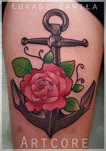 Anchor with rose - 100 Anchor Tattoos