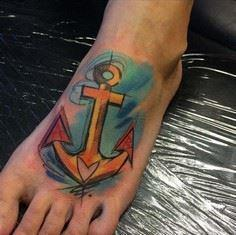 Anchor Tattoo on Foot by Szabi - 100 Anchor Tattoos
