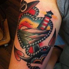 tattoo old school / traditional na - 100 Anchor Tattoos