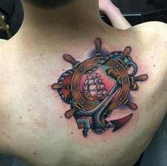 Nautical Anchor and Helm Tattoo on - 100 Anchor Tattoos