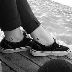Two little ankle tattoos of a tria - 100 Anchor Tattoos