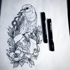 Crow and cat skull for tomorrow po - Over 100 Cat Tattoos, Designs and Tattoo Ideas