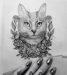 #illustration cat flower dot #neot - Over 100 Cat Tattoos, Designs and Tattoo Ideas