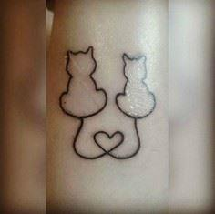 Two cats heart tattoo - Over 100 Cat Tattoos, Designs and Tattoo Ideas