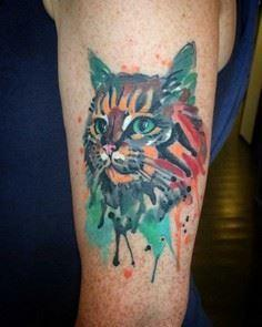 watercolor cat tattoo on arm - Over 100 Cat Tattoos, Designs and Tattoo Ideas