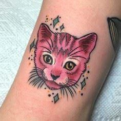 Adorable pink cat tattoo by Megan  - Over 100 Cat Tattoos, Designs and Tattoo Ideas