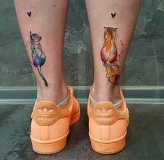 Cute Cats Back of Girls Legs   Bes - Over 100 Cat Tattoos, Designs and Tattoo Ideas