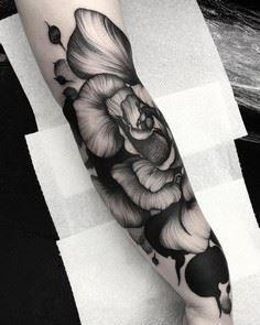 by Kelly Violet #flowers #tattoo # - Over 100 Cat Tattoos, Designs and Tattoo Ideas