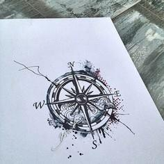Compass Tattoo Watercolor Trash - 100 Creative Compass Tattoo Designs and Ideas
