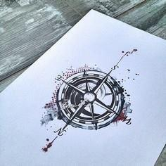 Compass Tattoo Trash Polka waterco - 100 Creative Compass Tattoo Designs and Ideas