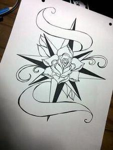 Rose Compass Old School Tattoo   - 100 Creative Compass Tattoo Designs and Ideas