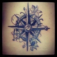 Girly Compass Tattoo  - 100 Creative Compass Tattoo Designs and Ideas