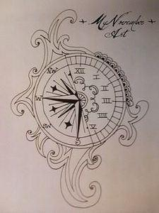 Compass Clock Tattoo - 100 Creative Compass Tattoo Designs and Ideas