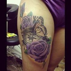 Realistic Butterfly Roses and Compas - 100 Creative Compass Tattoo Designs and Ideas