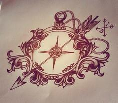 Compass with arrow, tattoo design - 100 Creative Compass Tattoo Designs and Ideas
