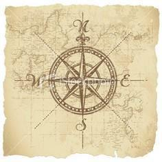 Vintage compass on map art - 100 Creative Compass Tattoo Designs and Ideas