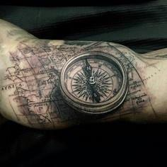 Compass & Map tattoo by - 100 Creative Compass Tattoo Designs and Ideas
