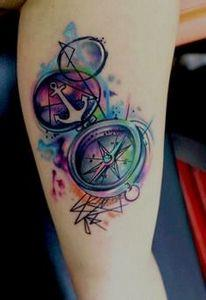 55+ Examples of Watercolor Tattoo  - 100 Creative Compass Tattoo Designs and Ideas