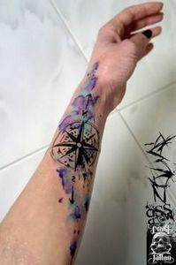 Watercolor compass by Greek tattoo - 100 Creative Compass Tattoo Designs and Ideas