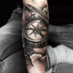 3d Reaistic Compass With Map Black - 100 Creative Compass Tattoo Designs and Ideas