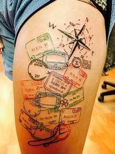 Travel Inspired Tattoo  - 100 Creative Compass Tattoo Designs and Ideas