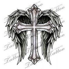 cool cross drawings with wings - G - 100 Cross Tattoos - Inspirational Cross Designs and Ideas