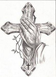 Cross Tattoo Drawings Praying Hand - 100 Cross Tattoos - Inspirational Cross Designs and Ideas