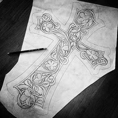 #sketch #sketch #sketch  This will tall, all leather wall hanging once complete. - 100 Cross Tattoos - Inspirational Cross Designs and Ideas