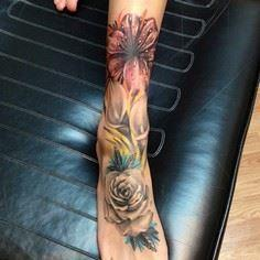 Floral sock by @austinxjones #flow - 200 Floral Tattoos - Beautiful Flower Designs, Ideas for Tattoos