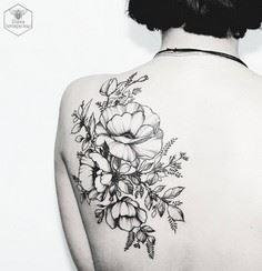 black floral tattoo by Diana Sever - 200 Floral Tattoos - Beautiful Flower Designs, Ideas for Tattoos