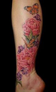 Violet peonies and butterflies tat - 200 Floral Tattoos - Beautiful Flower Designs, Ideas for Tattoos