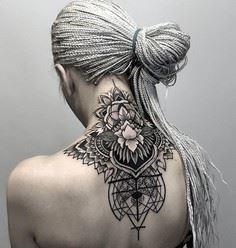 Geometric & Floral Neck  http: - 200 Floral Tattoos - Beautiful Flower Designs, Ideas for Tattoos