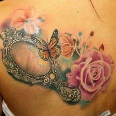 This butterfly has such a sweet re - 200 Floral Tattoos - Beautiful Flower Designs, Ideas for Tattoos