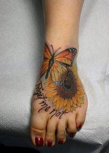 sunflower and butterfly tattoo - 4 - 200 Floral Tattoos - Beautiful Flower Designs, Ideas for Tattoos