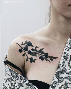 Illustrative blueberry chest tatto - 200 Floral Tattoos - Beautiful Flower Designs, Ideas for Tattoos