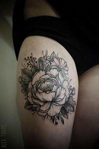 Beautiful peony done by Alex Tabun - 200 Floral Tattoos - Beautiful Flower Designs, Ideas for Tattoos