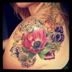 Shoulder tattoo with a few flowers - 200 Floral Tattoos - Beautiful Flower Designs, Ideas for Tattoos