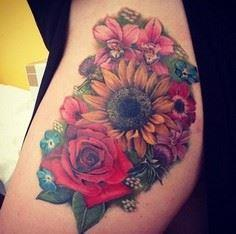 sunflower tattoo - 45 Inspirationa - 200 Floral Tattoos - Beautiful Flower Designs, Ideas for Tattoos