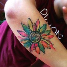 LOVE LOVE this watercolor sunflowe - 200 Floral Tattoos - Beautiful Flower Designs, Ideas for Tattoos