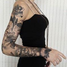 By @gabripais #sleeve #sleevetatto - 200 Floral Tattoos - Beautiful Flower Designs, Ideas for Tattoos