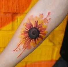 Watercolor Sunflower by Joice Wang - 200 Floral Tattoos - Beautiful Flower Designs, Ideas for Tattoos