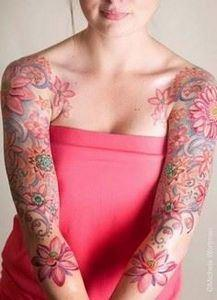 pink flower sleeve tattoos Floral  - 200 Floral Tattoos - Beautiful Flower Designs, Ideas for Tattoos