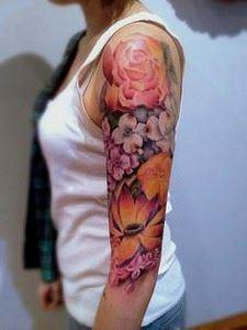 colorful sleeve - 200 Floral Tattoos - Beautiful Flower Designs, Ideas for Tattoos
