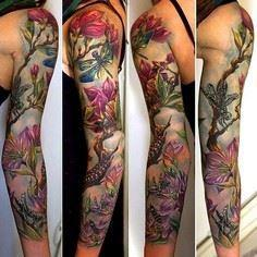 Tattoo Sleeve by Rom Azovsky #Inke - 200 Floral Tattoos - Beautiful Flower Designs, Ideas for Tattoos